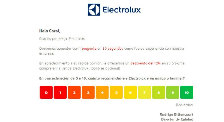 Encuesta de satisfacción de Electrolux