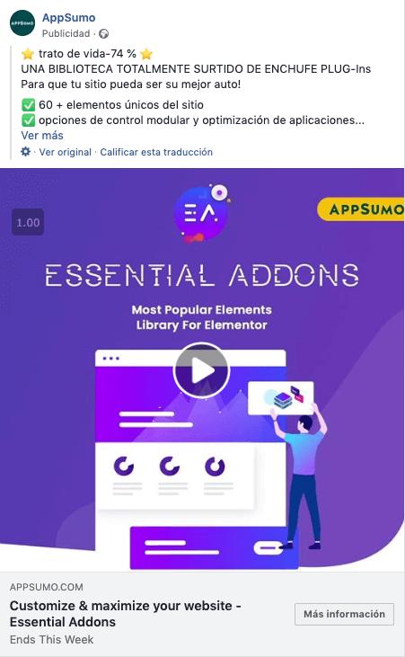 anuncio de Facebok ejemplo