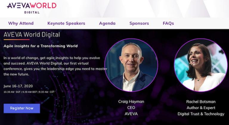 Página de aterrizaje de un evento virtual de AvevaWorld