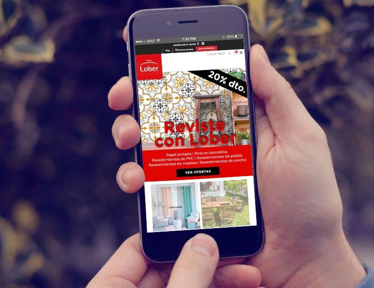 Versión móvil de una tienda online: CTA