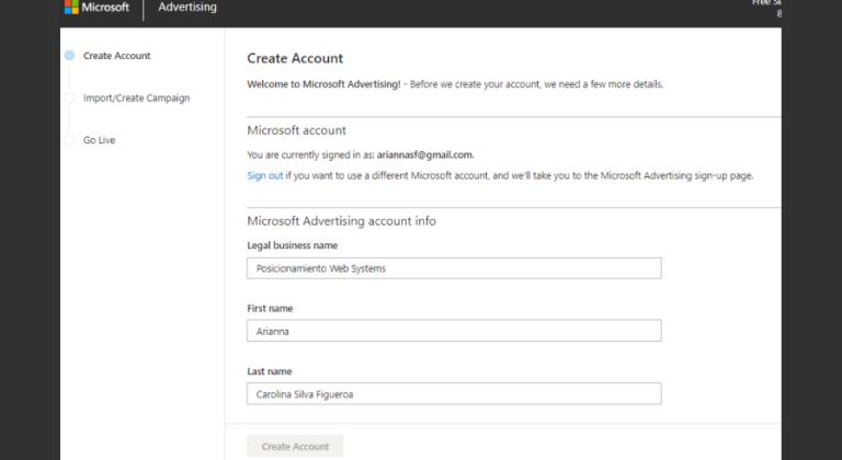 Crea tu cuenta en Microsoft Advertising