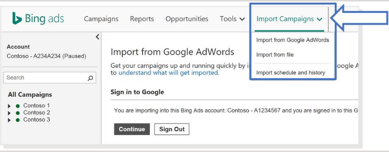importar campaña de Google