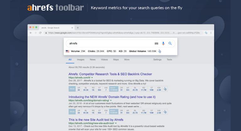 Extensiones de Chrome para marketing digital: Ahrefs SEO Toolbar