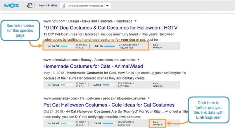 Extensiones de Chrome para marketing digital: MozBar