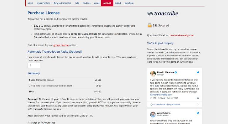 Extensiones de Chrome para marketing digital: Transcribe