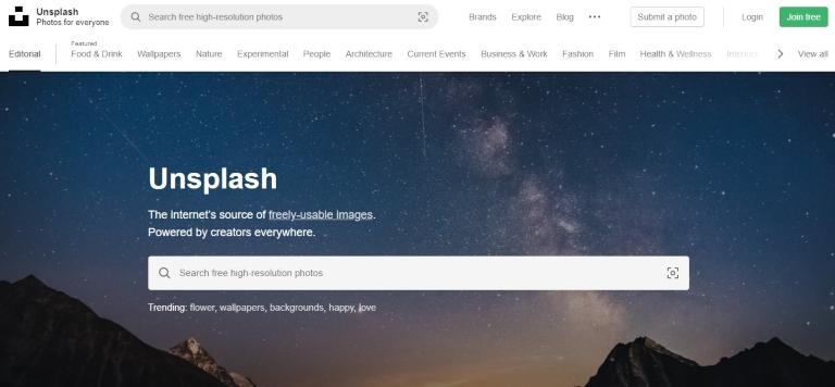Unsplash banco de imágenes gratuitas