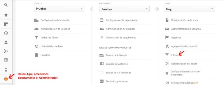 Filtros en Google Analytics: incluir o excluir tráfico de las direcciones IP